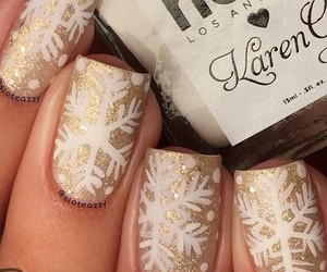 nails, christmas, and gold image