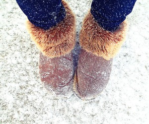 winter, snow, and shoes image