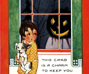 ghost, Halloween, and postcard image