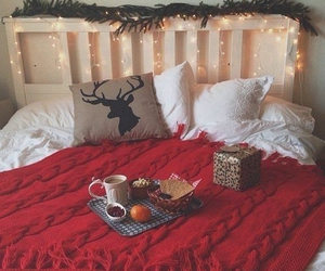 bed, christmas lights, and cozy image