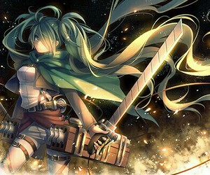 attack on titan, vocaloid, and anime image