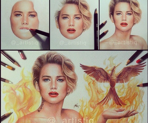 Jennifer Lawrence, drawing, and mockingjay image