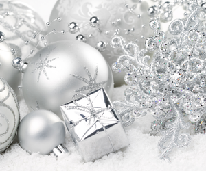christmas, silver, and decorations image