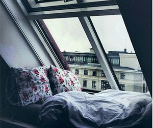 bed, room, and window image