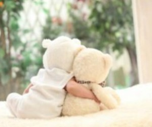 baby, bear, and cuddle image