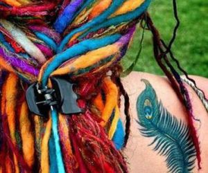 dreadlocks, hair, and rainbow image
