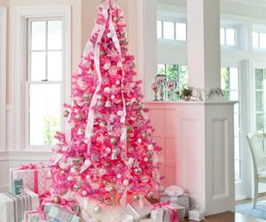 christmas, pink, and christmas tree image