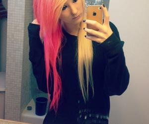 blonde hair, pink hair, and tumblr image