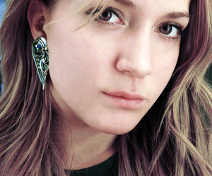 earrings, eyes, and face image