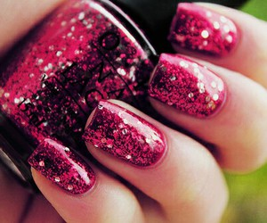 nails, rosa, and sparkly image