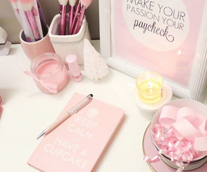 girly, office, and pink image