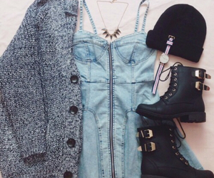 boots, dresses, and cardigan image