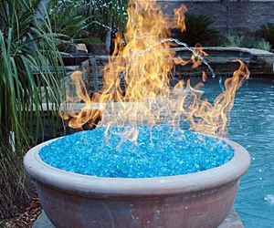 fire, blue, and glass image