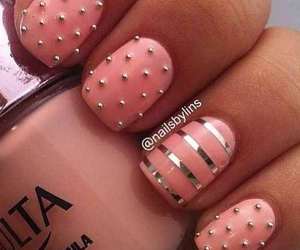 dots, pink, and silver image