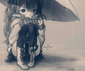 anime, girl, and rain image