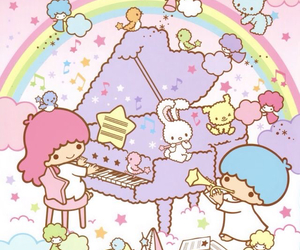 little twin stars, background, and sanrio image