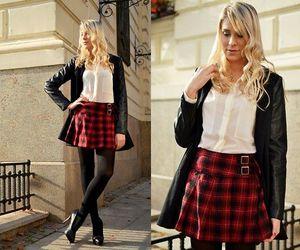 class, plaid mini skirt, and fashion image