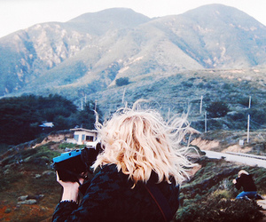 girl, blonde, and mountains image