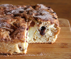 cake, cranberry, and pear image