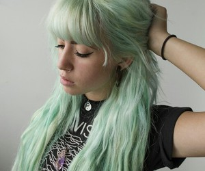 hair, green, and style image