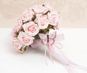 pink, butterfly, and bouquet image