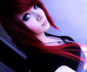 girl, red hair, and scene image