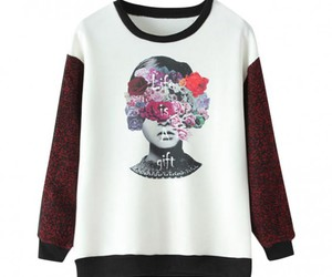 floral print, sweater, and sweatshirt image