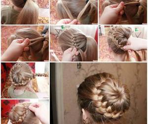 beauty, bun, and hair style image