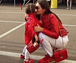 baby, red, and mom image