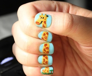 nails, giraffe, and nail art image