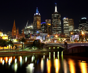 buildings, melbourne, and night image