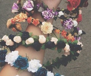 flowers, crown, and hipster image
