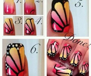 butterfly, diy, and nail art image