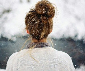 hair, snow, and love image