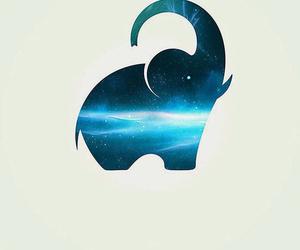 elephant, blue, and galaxy image
