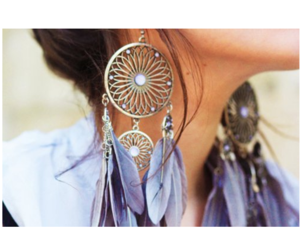 earrings, girl, and feather image
