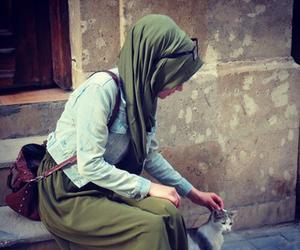 hijab, cat, and muslim image