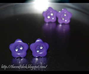 earring, purple, and flower image
