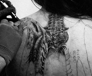 black and white, bones, and Tattoos image