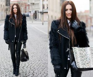 black coat, boots, and fall image