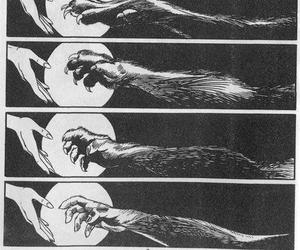 wolf, werewolf, and moon image