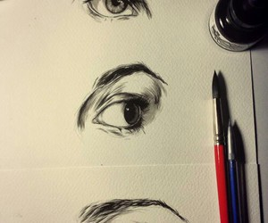draw, drawing, and eyes image