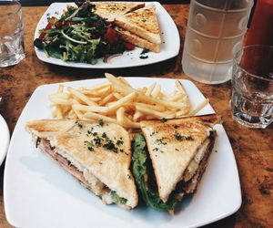 food, sandwich, and fries image