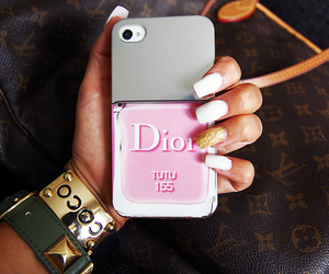 nails, dior, and iphone image