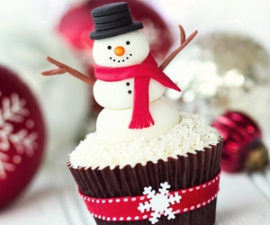 cupcake, christmas, and snowman image