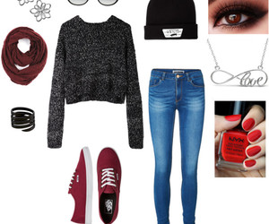 beanie, clothes, and jeans image