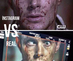 blood, dean winchester, and demon image