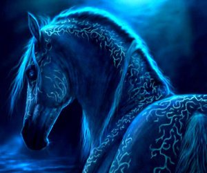 horse, fantasy, and blue image