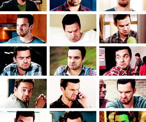 new girl, nick miller, and turtle face image
