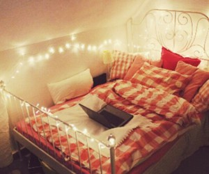 bed, inspiration, and lights image
